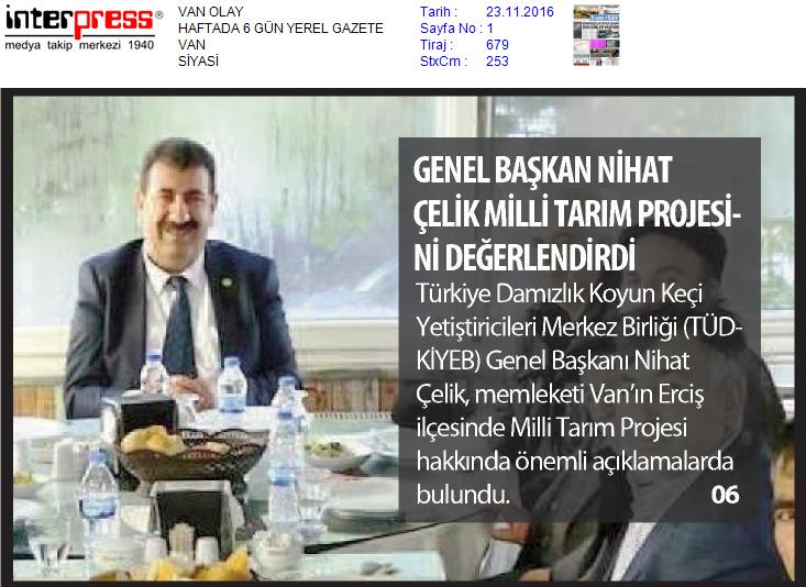 Genel Başkan Çelik, Milli Tarım Projesini Değerlendirdi.