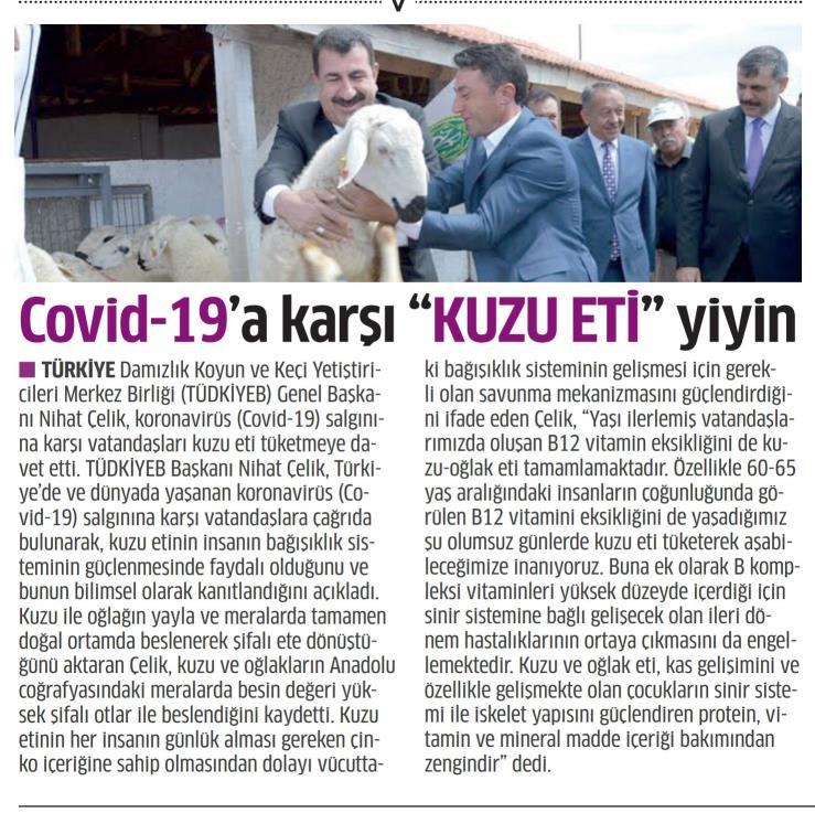 COVID-19 A KARŞI KUZU ETİ ÖNERİSİ